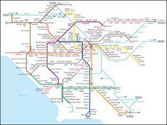 Fake subway map of LA based on London Tube