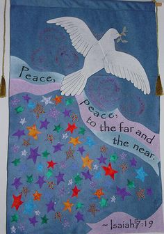 Peace Advent Banner - youth Sunday School project - iron on fabric on felt