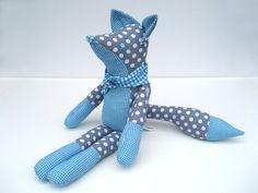Fox stuffed animal  Stuffed fox  Grey and blue fox by Mippoos, €37.50