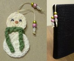 A snowman bookmark free crochet pattern - for instructions for the snowman and also how to crochet circles to make the snowman  - to go http://www.squidoo.com/bookmarks-to-make The beads go over the top of the book when placed on your bookshelf. ✿⊱╮Teresa Restegui http://www.pinterest.com/teretegui/✿⊱╮
