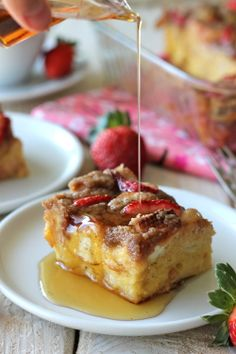 Strawberry Eggnog Baked French Toast