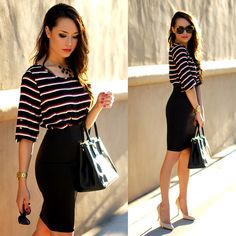 black necklace, work looks, statement necklaces, the office, street styles, black white, pencil skirts, work style, work outfits