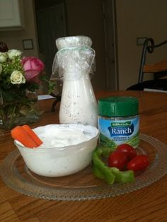 Healthy ranch dressing recipe -     Ranch is so fattening!! Until now. This whole jar of ranch is only 1.75 grams of fat and 255 calories! 1 cup dannon oikos plain greek yogurt, 1 packet hidden valley ranch mix, 1/2 cup 1% milk. Whisk together, chill 1 hour before use. Perfect consistency and tastes better than bottled... Make your own or the holidays!