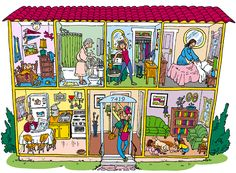 """A cutaway view of a Spanish-style house with family members, furnishings and other interior details. For """"Puentes"""" published by Heinle and Heinle 2009"""