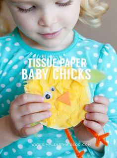 Spring Kids Craft ~ Tissue Paper Baby Chicks