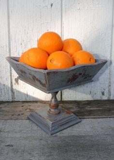 Upcycled Vintage Pedestal Bowl - Grey Pedestal - Wooden Pedestal Bowl - Shabby Chic Decor. $18.00, via Etsy.