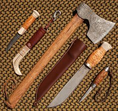 Beautiful bushcraft tools of a traditional style from the collection of Wayland (Gary Waidson).