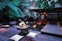 dinner, bali, como shambhala, hotel, backyard