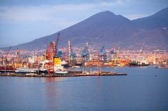 Port view from the sea, Naples, Italy, Europe