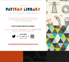 Pattern Library - This ongoing project compiles patterns shared by talented designers to be re-used freely in your own designs - http://thepatternlibrary.com/