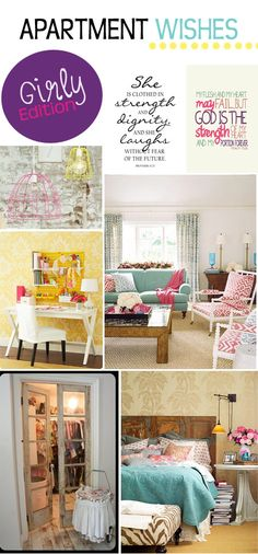 Girly Apartment Wishes- would also be cute for a first home!!