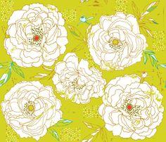 Paris Peonies fabric by cynthiafrenette on Spoonflower - custom fabric