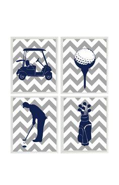 Golf Wall Art Print - Chevron Gray Navy Blue Nursery Preppy Art - Golf Club Cart - Golfer Gift  Boy Man Room Dorm Sports Home Decor - 4 8x10