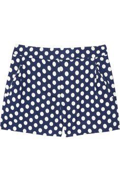 J.Crew|Indigo polka-dot linen and cotton-blend shorts|NET-A-PORTER.COM