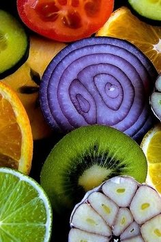 Natural circles in food color palettes, pattern, natural colors, art, sacred geometry, vibrant colors, rainbow fruit, colorful food, cross