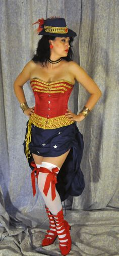 Steampunk Wonder Woman Cosplay Costume: Bustle Skirt only.. $90.00, via Etsy.