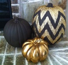 holiday, pumpkin decorations, gold glitter pumpkins, halloween pumpkins, chevron pattern