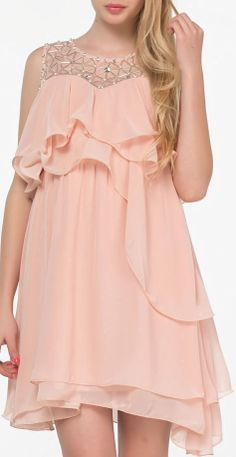 Peach Bead Ruffle Chiffon Dress