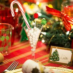 Give taste buds a Christmas treat! Place a gumball mocktail next to each place-setting to add to the merry table decor.