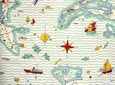 Out to Sea Map Wallpaper - contemporary - wallpaper - by Fabrics & Papers