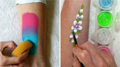 Learn how to use face paints, sponges & glitter / Face Painting Made Eas...