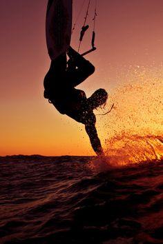 Sunset Kite Surfing