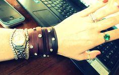 Wobisobi: Leather and Rhinestone Cuff Bracelet