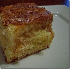 Honeybun Cake!  I've made this cake several times. It's gooey and yummy, and really is very similar to a honeybun. Oh, and it's very, very easy. You start with a box mix!