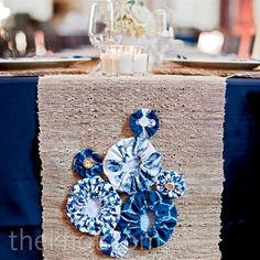 Burlap Table Runner with Blue Decor