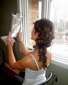 Formal hair, wedding hair, side swept do, bridal hair...