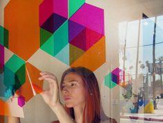 DIY Hexagon Stained Glass vinyl window stickers
