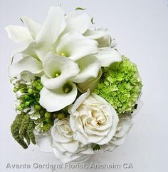 Contemporary featuring mini callas, Vendella roses and hydrangea.
