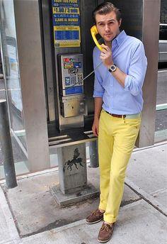 blue shirt, yellow pants