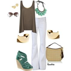 white jeans look, created by hosefish on Polyvore