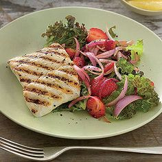 Grilled Halibut with Strawberry Salad -- because summer is all about grilling and berries!