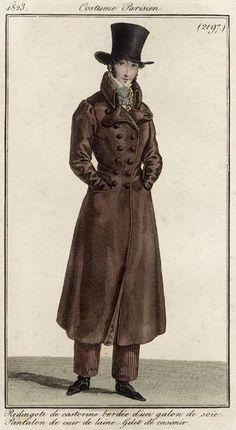 Costume Parisien 1823. Regency fashion plate.