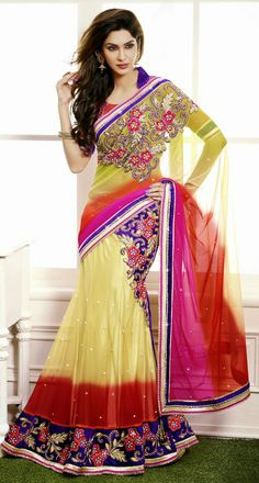 USD 129.1 Yellow Embroidered Net Wedding Lehenga Saree 29089