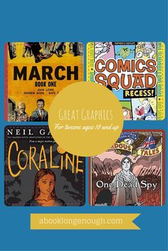 Part 3 of my series on Great Graphic novels and picture books for kids. This one features recommendations for kids ages 10 and up, from a children's librarian at http://abooklongenough.com.