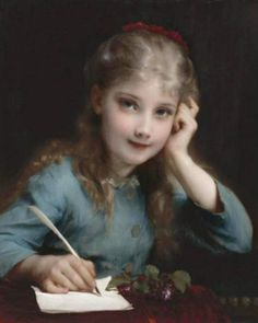 A young girl writing a letter -   Etienne Adolphe Piot (French, 1850-1910)