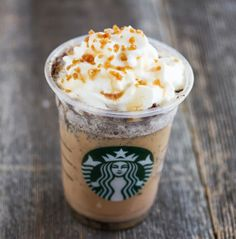 Starbucks secret menu: Twix Frappuccino (caramel frap, shot of chocolate syrup, topped with whipped cream, crunchy caramel sugar, drizzle of caramel and drizzle of chocolate syrup)