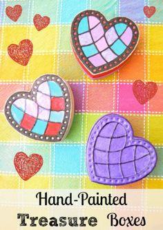 treasure boxes, paint treasur, treasur box, kid, heart treasur