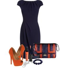 party dresses, orang, color combos, blue, happy colors, dress outfits, dress shoes, the navy, business casual