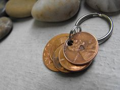 Lucky Us Copper Keychain with four  lucky pennies by patsdesign, $23.00