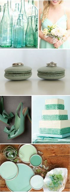 Great color scheme. Maybe not a blue dress though... mints, bottl, wedding themes, color schemes, wedding colors, beach weddings, mint weddings, sea glass, macaroons