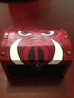 Razorback/ Hog/ Wooden Chest/ Wood Storage Box by CraftsbyAraceli, $30.00