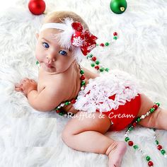 cute christmas outfit! baby bloomer and hair bow <3  LOVE the angel.