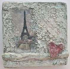 "Texture painting with Eiffel Tower ""Paris On My Mind"" by Esther Orloff"