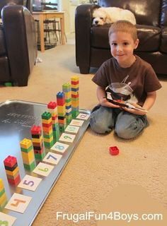 Two Preschool Math Activities with Duplo Legos. The oil change pan with magnets is inspired!