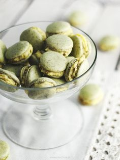 french macaroons with pistachio  cream