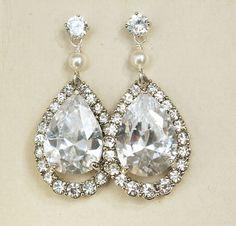 Rhinestone Bridal Earrings STERLING SILVER Earrings by luxedeluxe, $68.00